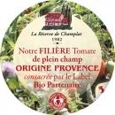 Medaillon Dépliant 6p. 65mm sur Couvercle bocal de coulis de tomates Champlat-